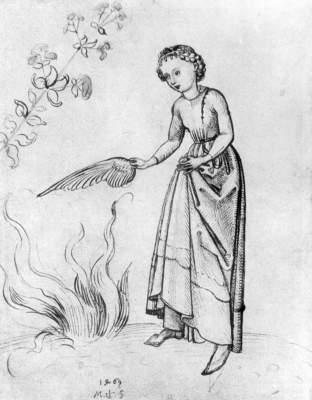 shonegauer young woman fanning flame with bird's wing