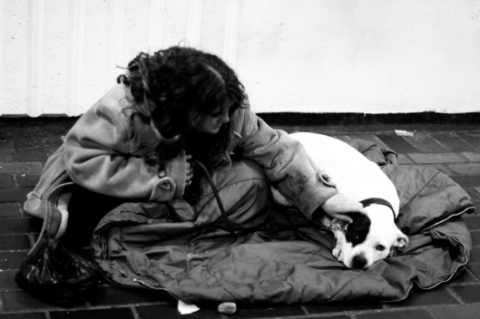 Homeless Woman and her Dog, Simon Whitaker, flickr